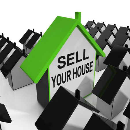 Sell Your House Home Meaning Marketing Property 스톡 콘텐츠