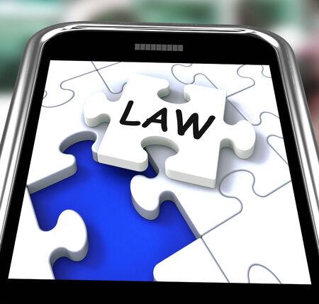 lawfulness: Law Smartphone Showing Legal Information And Legislation On Internet