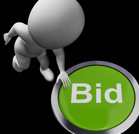 winning bidder: Bid Button Showing Auction Buying And Selling
