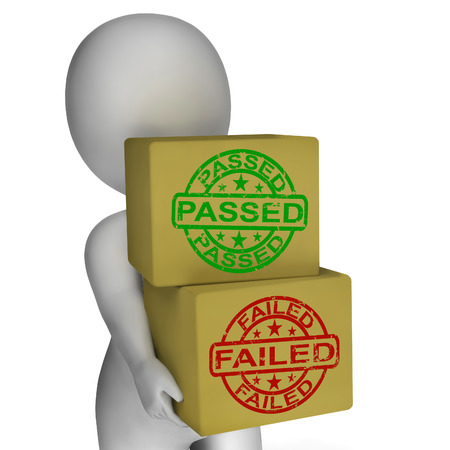 Passed And Failed Boxes Meaning Product Testing Or Validation Stock Photo - 26415764