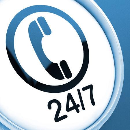 24x7: Twenty Four Seven Button Showing Open 247