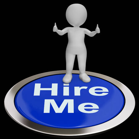 freelancer: Hire Me Button Showing Job Applicaticant Or Freelancer Stock Photo