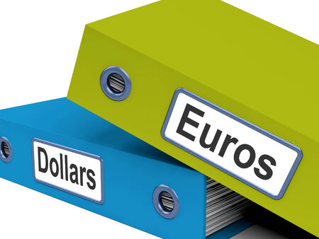 currency exchange: Dollar And Euros Folders Showing Global Currency Exchange Stock Photo