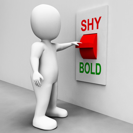 Shy Bold Switch Meaning Choose Fear Or Courage Stock Photo