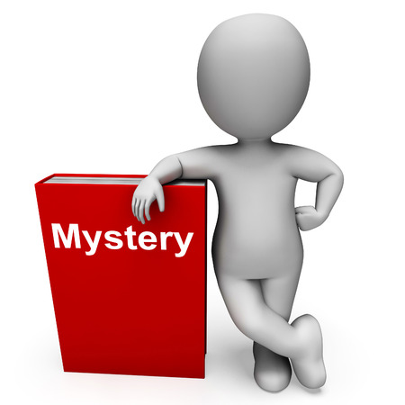 genre: Mystery Book And Character Showing Fiction Genre Or Puzzle To Solve Stock Photo