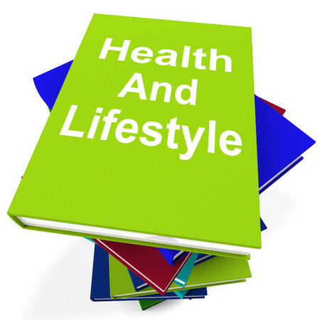 Health and Lifestyle Book Stack Showing Healthy Living photo