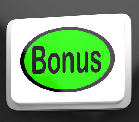 gratuity: Bonus Button Showing Extra Gift Or Gratuity Online Stock Photo