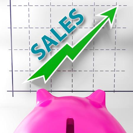 高められた販売を意味販売グラフおよび収益 写真素材