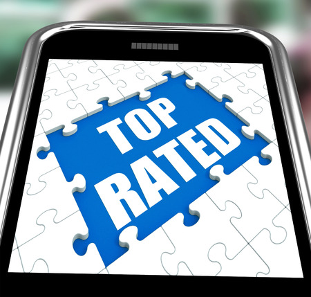 rated: Top Rated Smartphone Meaning Web Number 1 Or Most Popular Stock Photo