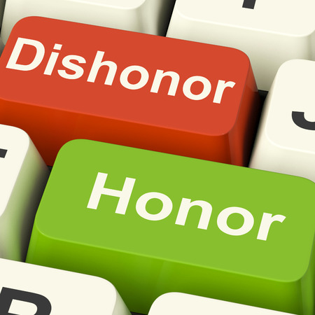 morals: Dishonor Honor Keys Showing Integrity And Morals