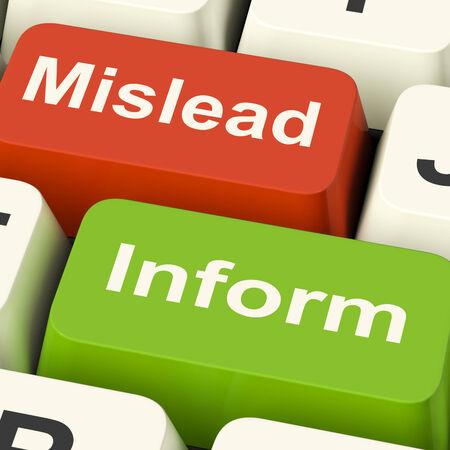 misleading: Mislead Inform Keys Showing Misleading Or Informative Advice