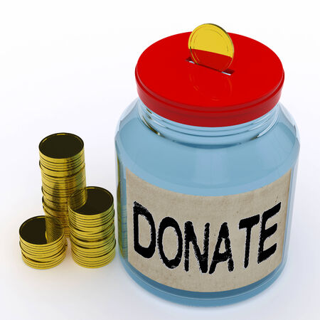 fundraiser: Donate Jar Meaning Fundraiser Charity And Giving Stock Photo
