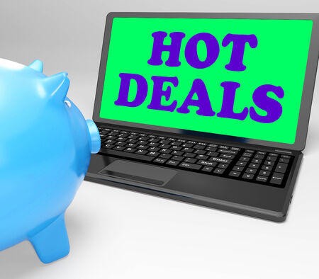 reduced: Hot Deals Laptop Meaning Best Buys And Reduced Price Stock Photo