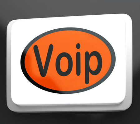 telephony: Voip Button Meaning Voice Over Internet Protocol Or Broadband Telephony