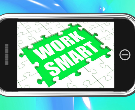 efficiently: Work Smart Tablet Showing Worker Enhancing Productivity Stock Photo