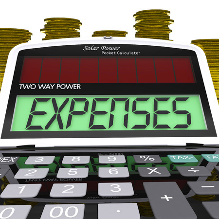 outgoings: Expenses Calculator Showing Business Expenditure And Bookkeeping Stock Photo