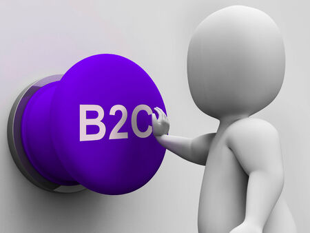 b2c: B2C Button Showing Business To Consumer And Selling