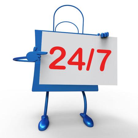 24x7: Twenty four Seven Bag Showing Hours Open Stock Photo