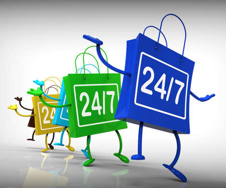 24x7: Twenty-four Seven Bags Showing Availability All Week Long Stock Photo