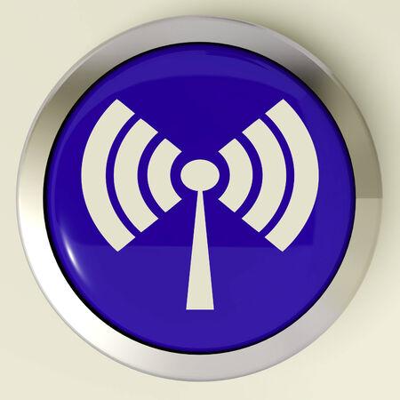 wifi internet: Bot�n Wifi Mostrando transmisor acceso inal�mbrico a Internet