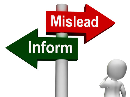 misleading: Mislead Inform Signpost Showing Misleading Or Informative Advice