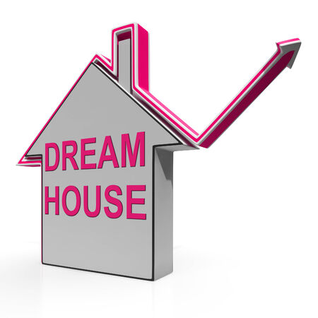 droomhuis: Dream House Home Meaning Finding Or Building Ideal Property Stockfoto