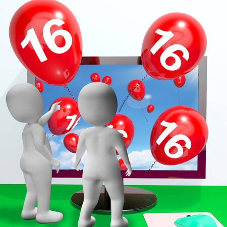 Number 16 Balloons from Monitor Showing Online Invitation or Celebration photo