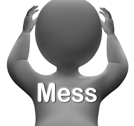 disorganized: Mess Character Showing Chaos Disorder And Confusion