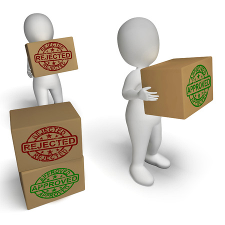 disallowed: Approved Rejected Boxes Meaning Product Testing Quality Control Stock Photo