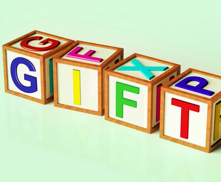 Gift Blocks Meaning Giveaway Present Or Offer Stok Fotoğraf