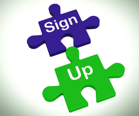 signup: Sign Up Puzzle Showing Joining Or Membership