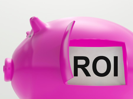 roi: ROI Piggy Bank Showing Return On Investment Stock Photo