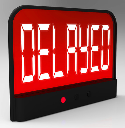 tardy: Delayed Clock Showing Postponed Or Running Late