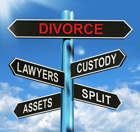 divorce court: Divorce Signpost Meaning Custody Split Assets And Lawyers