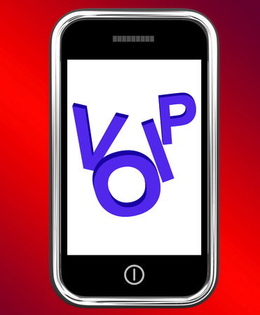 mobile voip: Voip On Phone Showing Voice Over Internet Protocol Or Ip Telephony Stock Photo