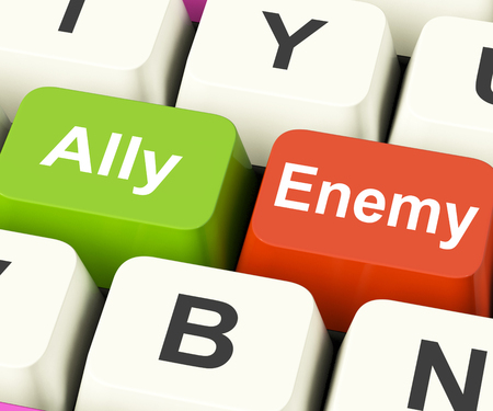 adversary: Ally Enemy Keys Meaning Partnership And Opposition