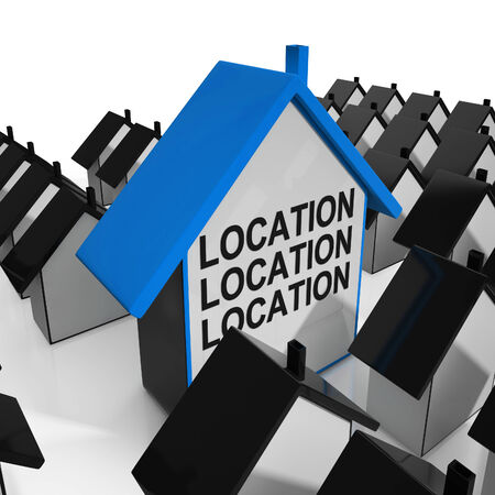 best location: Location Location Location House Meaning Situated Perfectly Stock Photo