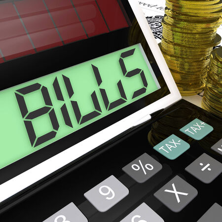 accounts payable: Bills Calculator Meaning Invoices Payable And Owing Stock Photo