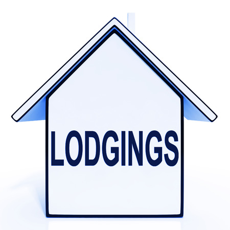 lodgings: Lodgings House Meaning Rooms Accommodation Or Vacancies Stock Photo