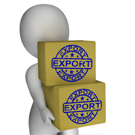 merchandise: Export  Boxes Showing Exporting Goods And Merchandise