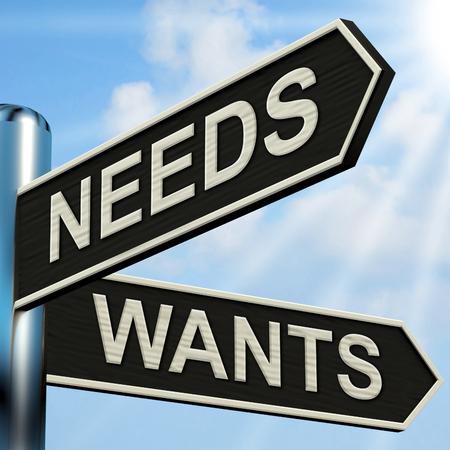 would: Bisogni Vuole Signpost Significato necessit� e il desiderio Archivio Fotografico