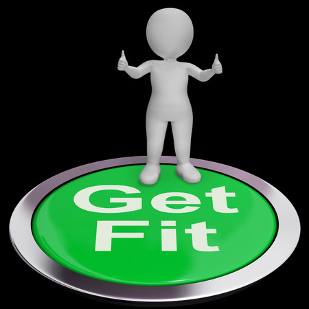 get a workout: Get Fit Button Showing Exercise And Working Out Stock Photo