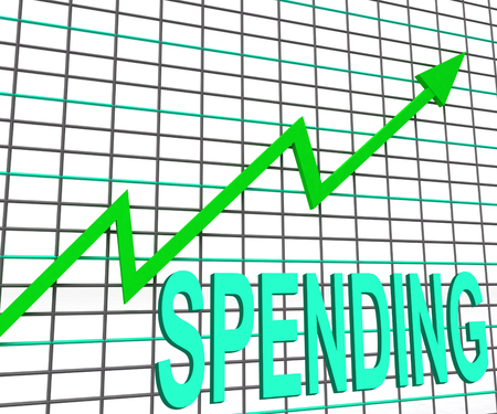 expenditure: Spending Chart Graph Shows Increasing Expenditure Purchasing