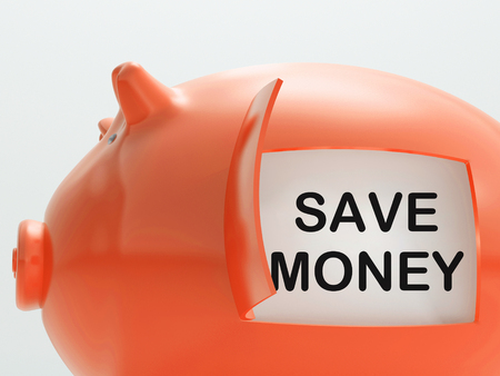 Save Money Piggy Bank Showing Putting Aside Funds
