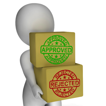 endorsed: Approved Rejected  Boxes Meaning Product Tests Or Checking Quality Stock Photo