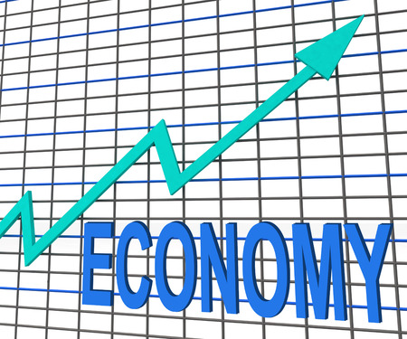 fiscal: Economy Graph Chart Showing Increase Economic Fiscal Growth Stock Photo