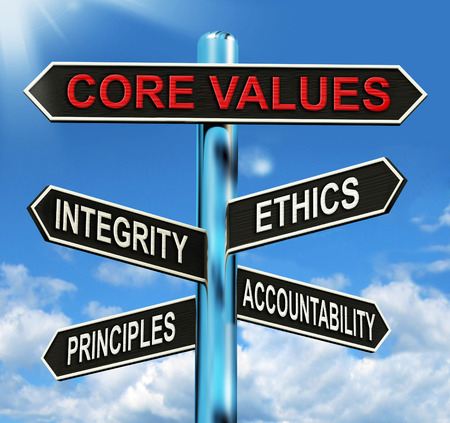 ethics and morals: Core Values Signpost Meaning Integrity Ethics Principals And Accountability