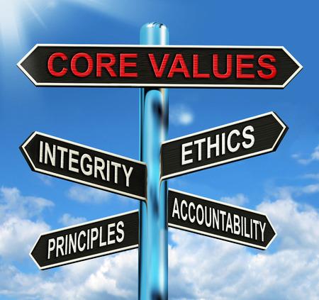 Valeurs fondamentales de poteau indicateur Signification directeurs intégrité éthique et la responsabilité Banque d'images