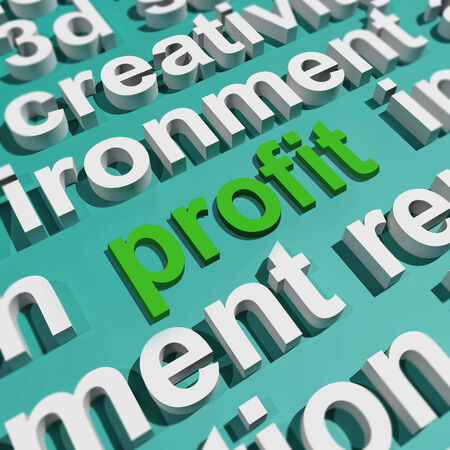 profitable: Profit In Word Cloud Showing Profitable Incomes And Earnings