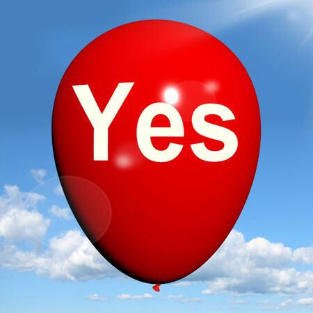 affirmative: Yes Balloon Meaning Affirmative Approval and Certainly